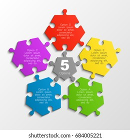 Five piece puzzle business presentation. Circle infograph. 5 step puzzle process diagram. Five section compare service banner. 5 section shape, info graphic banner background