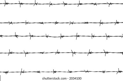 five pieces of barbed wire