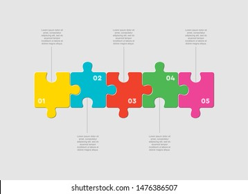 Five pieces puzzle squares diagram. Squares business presentation infographic. 5 steps, parts, pieces of process diagram. Section compare banner. Jigsaw puzzle info graphic. Marketing strategy.