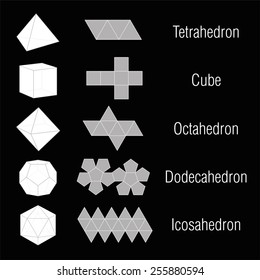 Five platonic solids plus nets and names. Isolated vector illustration over black background.