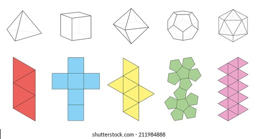 Five platonic solids, three-dimensional figures and corresponding nets. Isolated vector illustration over white background.