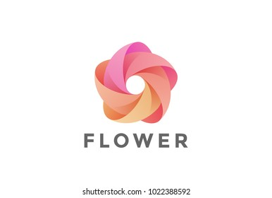 Five point Flower Star abstract Logo looped shape design vector template. Infinity Loop Teamwork Social Logotype icon.