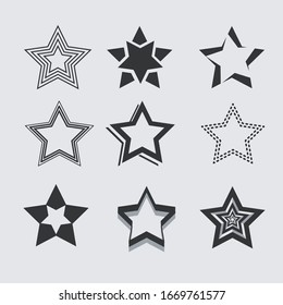Five point star collection icon design elements, vector template set