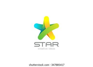 Five point Star Logo design ribbon vector template. Creative Media Social Logotype concept icon.