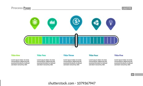 Five pointers scale metaphor process chart template for presentation. Vector illustration. Elements of diagram, graph. Workflow, plan, finance, business or analysis concept for infographic, report.