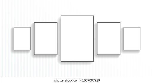 Five Poster Black Frame Mockup On Stock Vector (Royalty Free ...