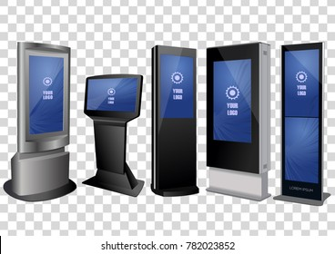 Five Promotional Interactive Information Kiosk, Advertising Display, Terminal Stand, Touch Screen Display isolated on transparent background. Mock Up Template.