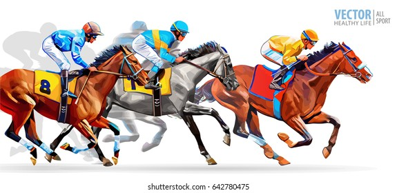 Five Racing Horses Competing With Each Other Motion Blur To Accent Speed Vector