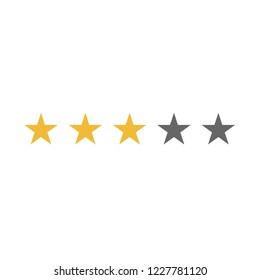 Five rating stars icon. Active yellow or gold stars and non active grey stars.
