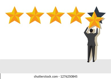 Five rating stars vector illustration. Feedback concept. Man holding a gold star in hand