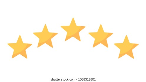 Five rating yellow stars icon in arch form. Vector illustration