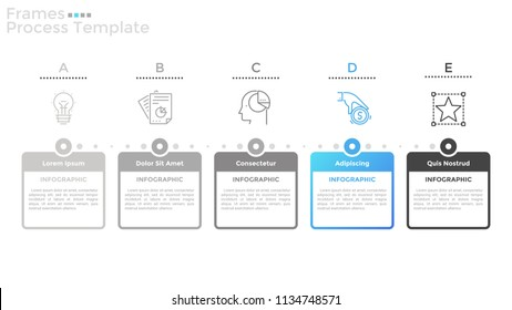 Five rectangular frames with place for text inside and linear icons organized into horizontal row. Concept of 5 successive steps of progress. Simple infographic design template. Vector illustration.