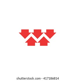 Five red converging arrows logo mockup, converge arrow merge form shape letter M, marketing concept graphic design emblem