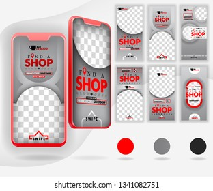 five red mockup smartphones for online promotion and internet marketing, with 6 template social media templates, can use for, landing page, template, ui, web, mobile app, poster, banner, flyer, vector