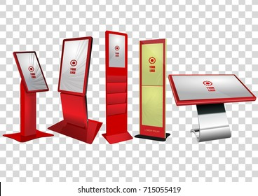 Five Red Promotional Interactive Information Kiosk, Advertising Display, Terminal Stand, Touch Screen Display isolated on transparent background. Mock Up Template.