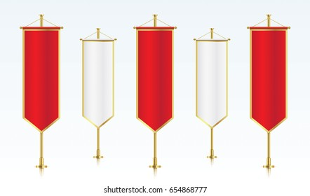 Five red and white vertical royal flags, standing in a row. Banner flag templates isolated on background. Vertical flags realistic mockup.