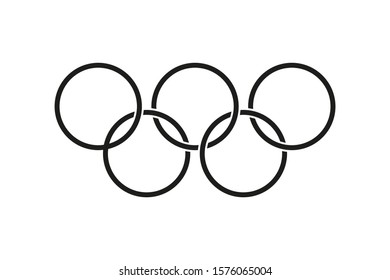 Five ring icon. Games isolated vector symbol. Thin line. Abstract brochure with games. Minimal poster. EPS 10