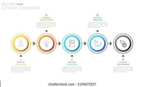 Five round elements with thin line icons inside arranged into horizontal row and connected by arrows. Concept of 5 successive steps to financial gain. Infographic design layout. Vector illustration.