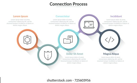 Five round elements with thin line icons inside connected into chain and text boxes. Concept of process with 5 successive steps. Simple infographic design template. Vector illustration for report.