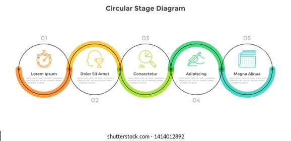 Five round links connected into horizontal chain. Concept of 5 stages of startup development plan or business strategy. Linear infographic design template. Modern vector illustration for banner.