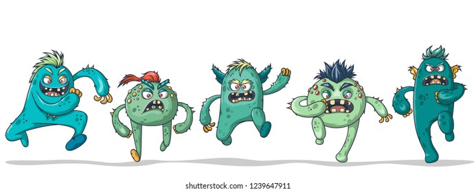 Five running crazy monsters on white background