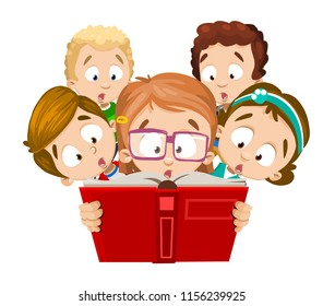 Five schoolchildren looking in book with amazement. Intelligent girl with glasses holds with both hands open textbook in red cover. All kids have very wonderment emotions on their faces. Vector image