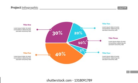Five sectors pie chart slide template. Business data. Review, assessment, design. Creative concept for infographic, presentation, report. For topics like research, finance, analysis.