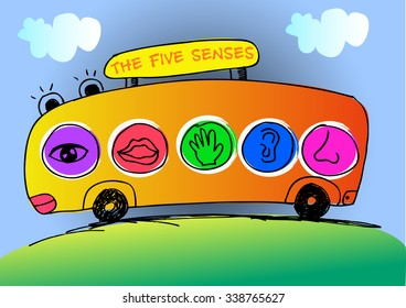 Five senses education with cute bus
