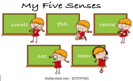 Five Senses on Blackboard with Girl Character illustration