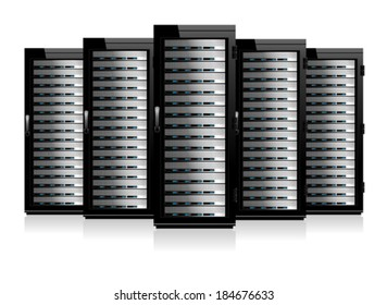 Five Servers - Information technology conceptual image