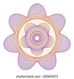 Five and Seven Point Star Guilloche Rosette Vector Illustration