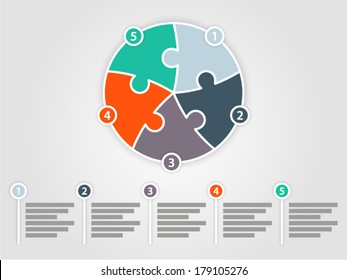 Five sided puzzle presentation infographic template with explanatory text field