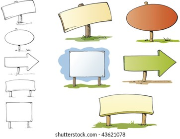 Five signposts with different shapes and copyspace in them. They are inked with black dynamic outlines and colored in soft colours.