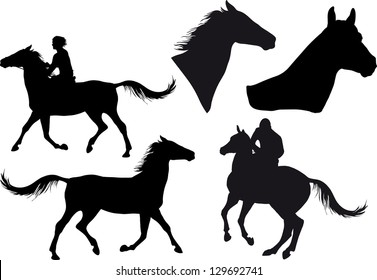 five silhouettes of horses, horse heads and riders