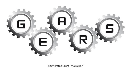 five silver gears over white background. vector illustration