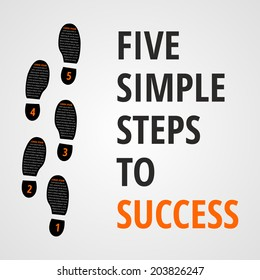 Five simple foot steps to success concept for layout, brochure,web design or presentation in vector.