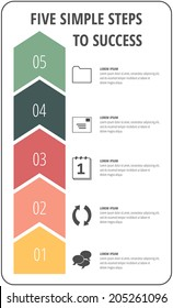 Five simple steps to success arrow concept with icons for project, layout, brochure,web design or presentation in vector.