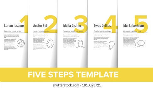 Five simple yellow steps process infographic template