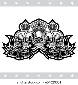 Five skulls different view with crowns on laurel wreath. Heraldic vintage label on white