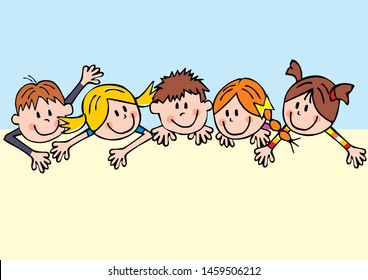 Five smiling children, funny vector illustration, template. Group of girls and boys, creative picture.
