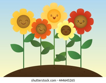 Five smiling sunflowers
