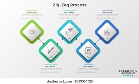 Five square paper white elements with thin line symbols and numbers inside connected by horizontal zigzag line. Creative infographic design template. Vector illustration for presentation, report.