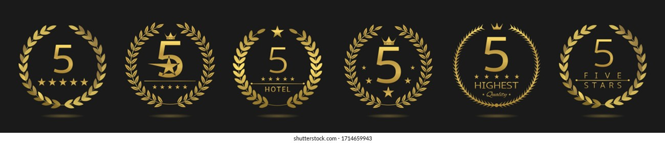 Five star badge set. Golden laurel wreath set, best hotel symbol. 5 stars
