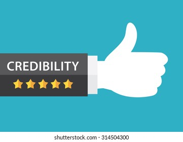 Five star and credibility text on business hand thumb up on blue background. Vector illustration