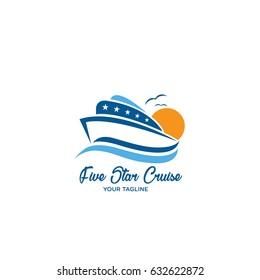 Five Star Cruise Logo Design, Cruise Ship Icon Design