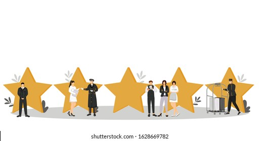 Five star hotel flat color vector illustration. Luxury hospitality service. Security, doorman, porter. Administrator, waiter, housekeeper. Staff isolated cartoon characters on white