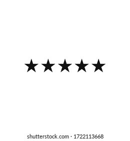 Five star icon vector. Rating sign