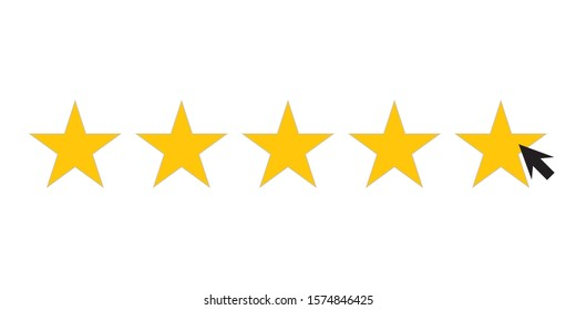 five star icons for consumer satisfaction ratings, 5 star shape