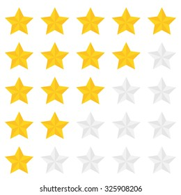Five star ranking in a flat style.
