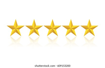 Five star rating. Golden 3D vector stars in a row.
